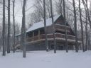 Winter view of the front of Alpine Snow Cabin.